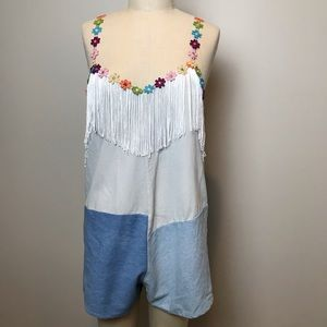 LF RP4LF | Denim Romper with Fringe and Flowers